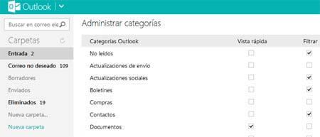 outlook categorias correo